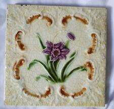 ANTIQUE ENGLISH 19TH CENTURY majolica raised FLOWER DESIGN 6 INCH TILE