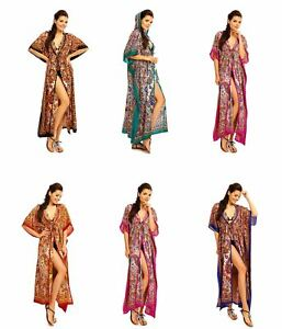 Ladies Full Length Oversized Maxi Kimono Hooded Tribal  Kaftan Gown Dress