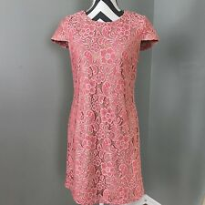 f2102d0b727 Saks Fifth Avenue BLACK Label Womens Pink Lace Lined Dress Size Med Short  Sleeve