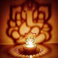 Home Decor Lord Ganesha Candle Stand Holder Decorative Metal Tea Light Shadow