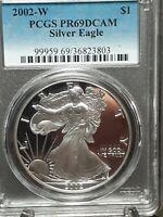 2002 W PCGS PR69DCAM Proof American Silver Eagle Coin