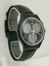Vintage 1990 Swatch Wall Street  SCB106 Chronograph Black Gents Wrist Watch