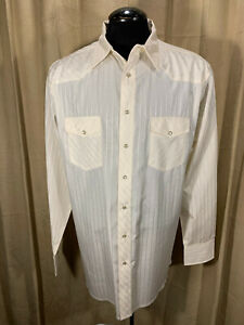 Mens Wrangler Tall Western Shirt XLT Ivory Striped L/S Snaps Poly/Cot  Rodeo