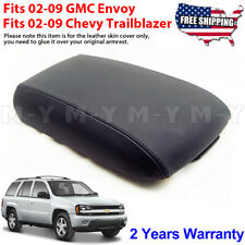 Fits 02-09 Chevy Trailblazer GMC Envoy Leather Console Lid Armrest Cover Black