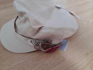 Girls Cream Flat Cap butterfly trim BNWT £10 Claire's NEW train driver peak cap