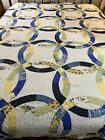 GORGEOUS+French+Country+Blue+Yellow+Double+Wedding+Ring+Quilt+106x94+King+%23471
