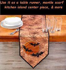 "Halloween Spiderweb Bats Moon Table Runner Pumpkin 72"" x 13"" Lace Mantle Scarf"