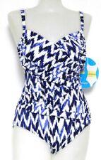Swim Solutions Size 8 Black Printed Underwire Surplice 1-Piece Swimsuit NWT