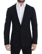 DOLCE & GABBANA Blazer Jacket Blue Wool Silk GOLD Slim Fit IT46/US36/S RRP $1800