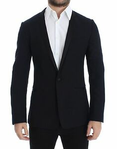 DOLCE & GABBANA Jacket Blazer Blue Wool Silk GOLD Slim Fit IT46/US36/S