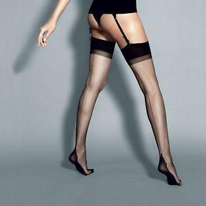 "Sheer Matte Stockings Backseam Cuban Heel ""Calze Roberta"" 6 Denier"