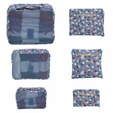 6pcs Waterproof Travel Storage Bags Clothes Packing Cube Luggage Organizer Pouch Navy Blue