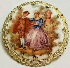 Vintage Cameo Sugar Coated Brooch Western Germany Pin W/ 18th Century Lovers