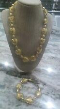Beautiful Italian yellow foil art glass murano heart Necklace bracelet set