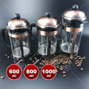 Vintage Copper French Press Coffee Plunger Glass Tea Maker 600ml/800ml/1000ml CU