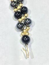 Hematite, Onyx And 14k Gold Beads Bracelet