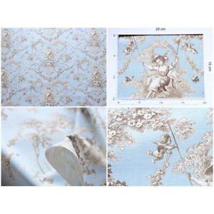 coupon tissu Toile de Jouy LUDIVINE MARRON FOND BLEU