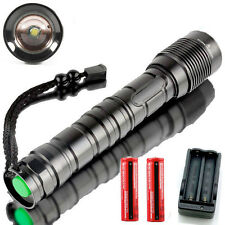 10000LM XM-L T6 LED Zoom Flashlight Torch Lamp Light 18650/26650+Battery+Charger
