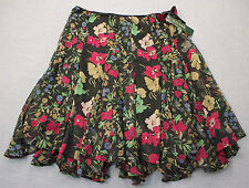 RALPH LAUREN Womens Black Floral Lined Pleated Ruffle Skirt NEW Size 16  $125
