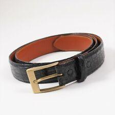 New $950 ISAIA Black Genuine Crocodile Belt with Brass Buckle 36 Waist