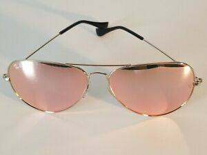 Ray Ban RB3026 62MM Aviator Unisex Sunglasses Silver Frame/Pink Mirror Lens