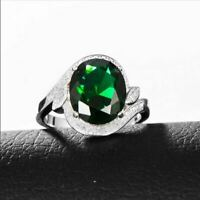 2.50Ct Oval Cut Green Emerald Diamond Halo Engagement Ring 14K White Gold Finish