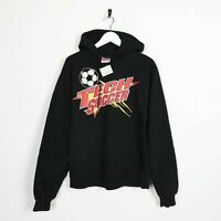 Vintage CHAMPION USA Tech Soccer Big Logo Hoodie Sweatshirt Black | Small S