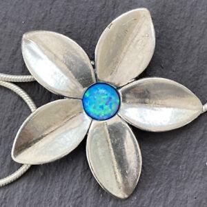 Shablool Didae Fire Opal Sterling Silver Flower Necklace Designer