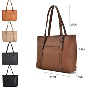 New Women's Large Designer Style Faux Leather Tote Shopper Hand Bag