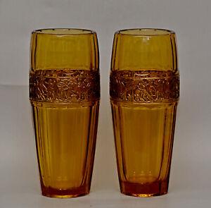 Rare PAIR MOSER OROPLASTIC Amber Cut Glass Art Deco Vases