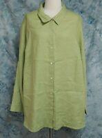 J Jill Womens sz 3X Green Linen Long Sleeve Button Down Top