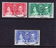 Ceylon 1937 Coronation Set SG 383-385 fine utilisés.