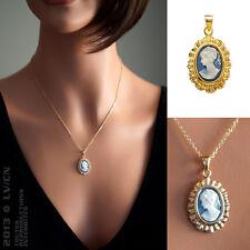 PENDENTIF Femme Camée BLEU Plaqué Or 18 carats NEUF - BEAUX BIJOUX