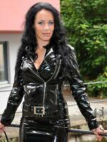 Lackjacke Lack Jacke Schwarz Biker-Style Glänzend Vinyl Maßanfertigung