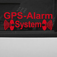 2 Aufkleber GPS Alarm System gespiegelt rot Auto Glas Tattoo Folie Autoaufkleber