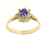 Amethyst Cluster Ring Yellow Gold Amethyst Engagement Ring Size F - V