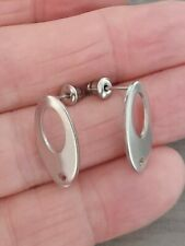 20 Pairs hollow Oval 316 stainless steel silver colour Stud Earrings plus backs