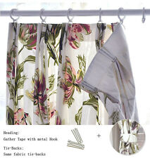 Pair of Curtains w/Tiebacks,Cotton Canvas,Purple/Green on White, 2@125cm x 230cm
