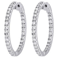 """10K White Gold Diamond In & Out Hoops Round Hinged Earrings 1.25"""" Long 3 CT."""