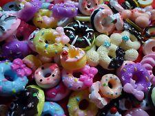 10 Mix Donuts 3D-Relief Cabochons Kunstharz - ideal für Basteln und Puppenstuben