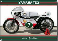 YAMAHA TD2 RACING MOTORCYCLE METAL SIGN.VINTAGE YAMAHA RACE MOTORCYCLES.A3