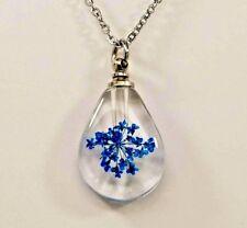 Glass Tear Dried Flower Cremation Urn Necklace, Blue Flower Ashes Keepsake