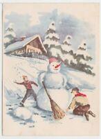 1959 Niños Juego Bolas Muñeco Por Nieve Tarjeta Postal Baby Choza Montaña