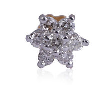 0.14 Cts Round Brilliant Cut Diamonds Nose Stud In Fine Hallmark 18K Yellow Gold