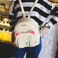 Women Fashion Cat Backpack Black Leather Handbag Backpack Travel Shoulder Bag
