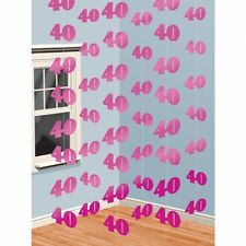 6 x 7ft Pink 40th Birthday Party String Banner Hanging Decorations Age 40