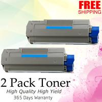 2-Pack Cyan Toner for Okidata Oki C5500 C5800 C5900 C5500N 43324403 HIGH YIELD