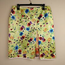 Eva & Claudi Size 40 Floral Skirt Satin Neon Green Bright Pleated Contrast