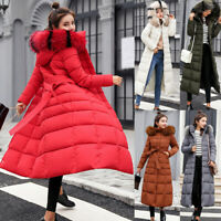 Women Winter Long Down Cotton Parka Coat Warm Fur Collar Hooded Jacket Outwear