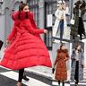 Women's Winter Long Down Cotton Parka Coat Warm Fur Collar Hooded Jacket Outwear